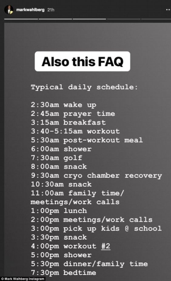 Stay at home mom Mark Wahlberg daily schedule