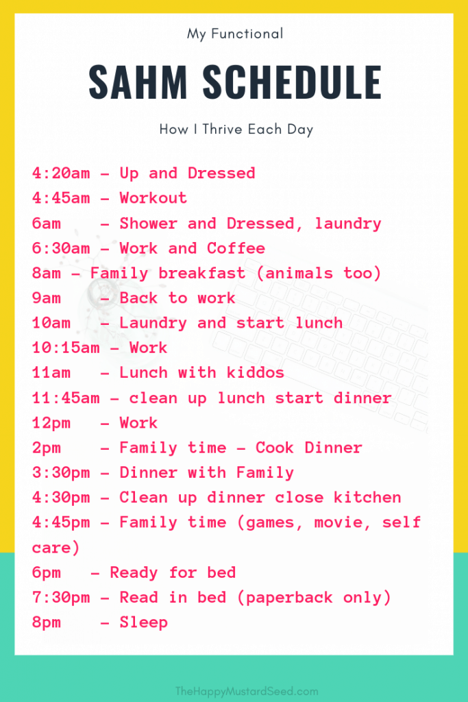 Stay at home mom daily schedule