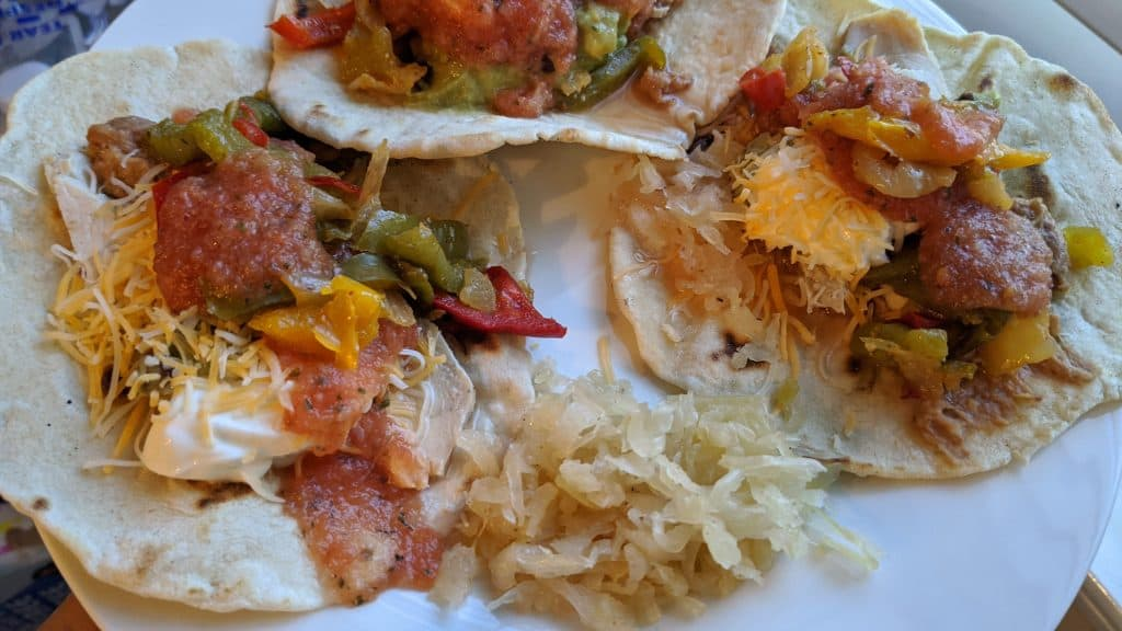 Sourdough tortilla dinner with fermented cabbage