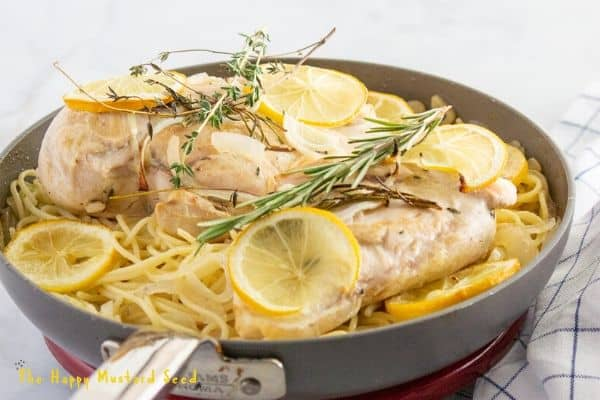 Lemon chicken over pasta