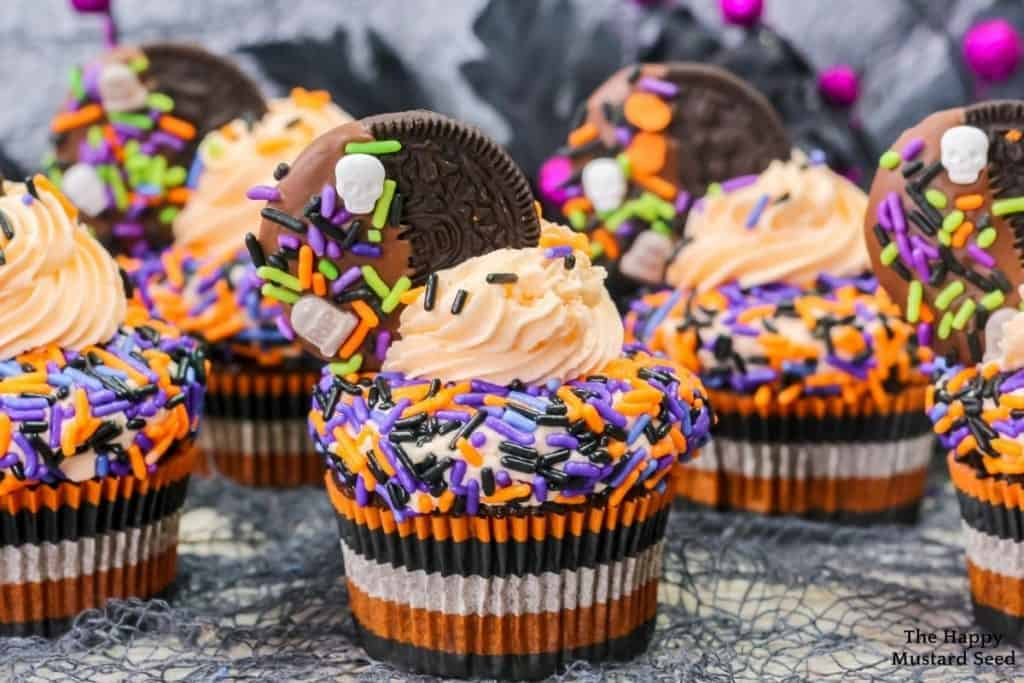 view of Halloween cupcakes with Oreo frosting