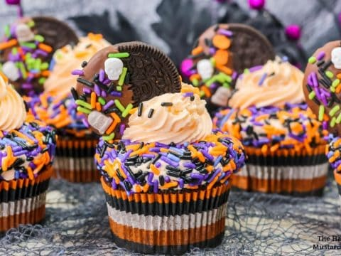 front view of Halloween Oreo cupcakes with Oreo frosting