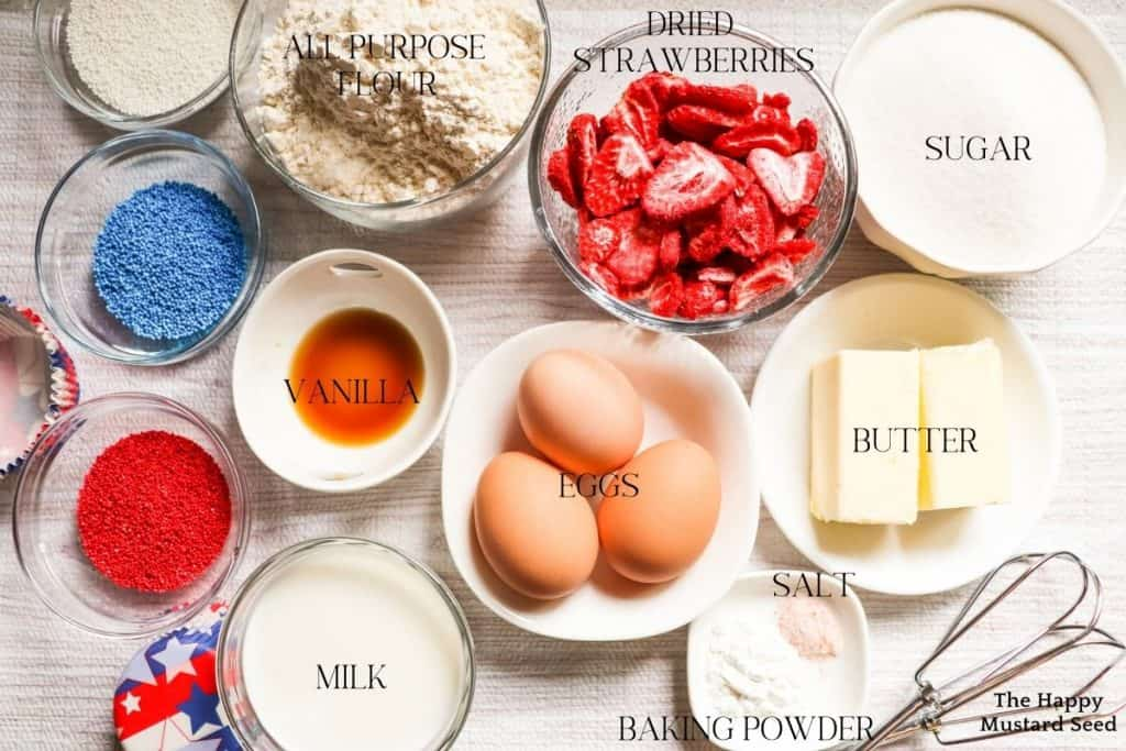ingredients for fourth of july cupcakes