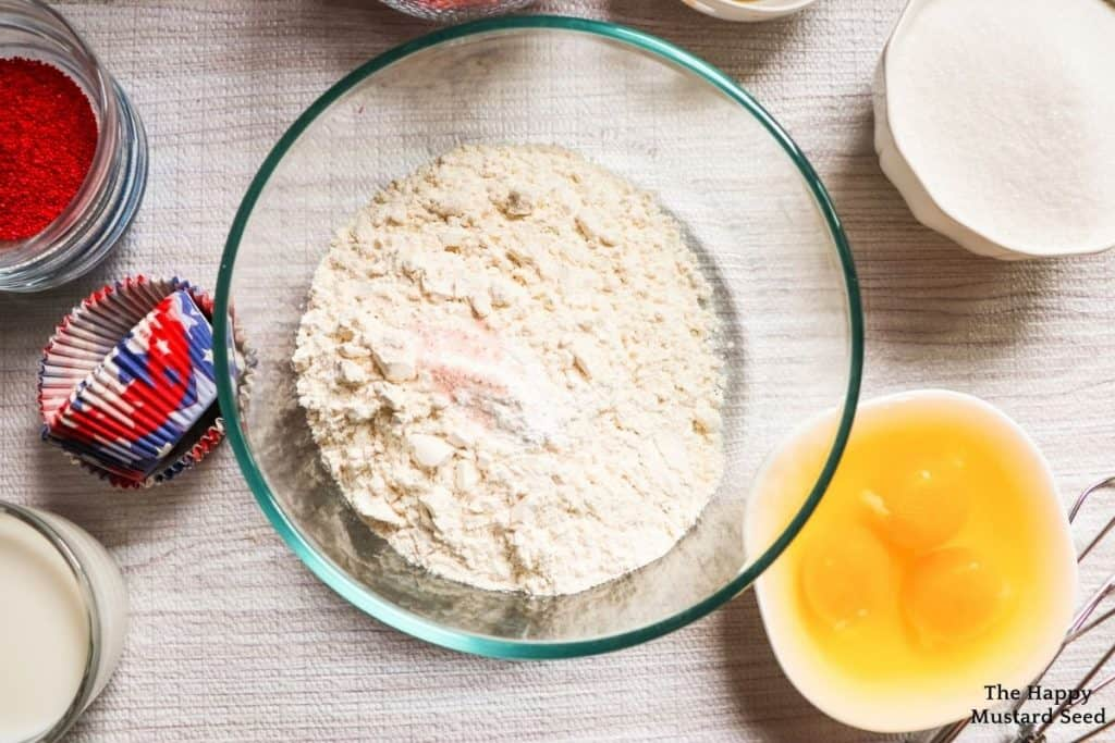 flour in bowl for fourth of july cupcakes