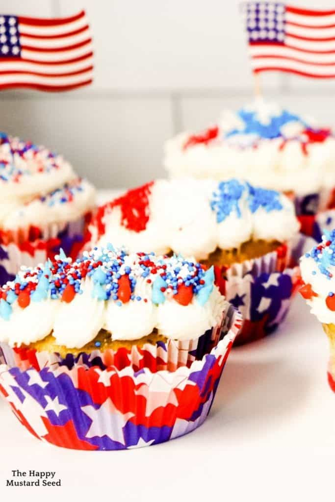 front view of cupcakes with frosting for fourth of july