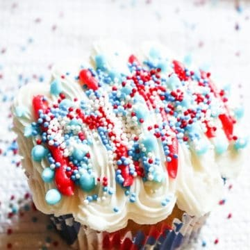 top view of buttercream frosting with sprinkles