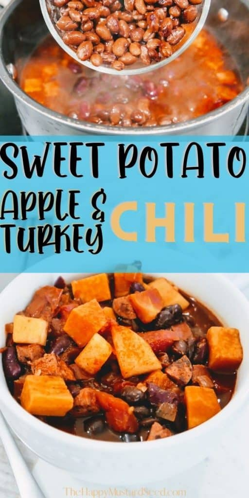 turkey chili with sweet potatoes in bowl