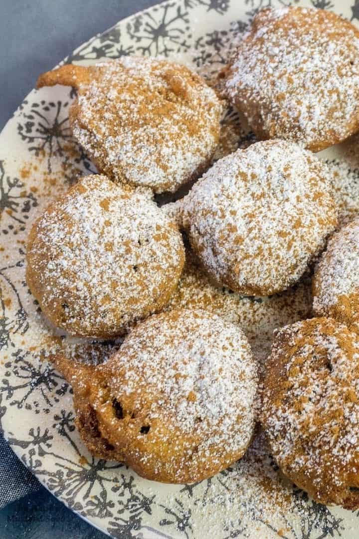 top view of fried Oreos with powdered sugar