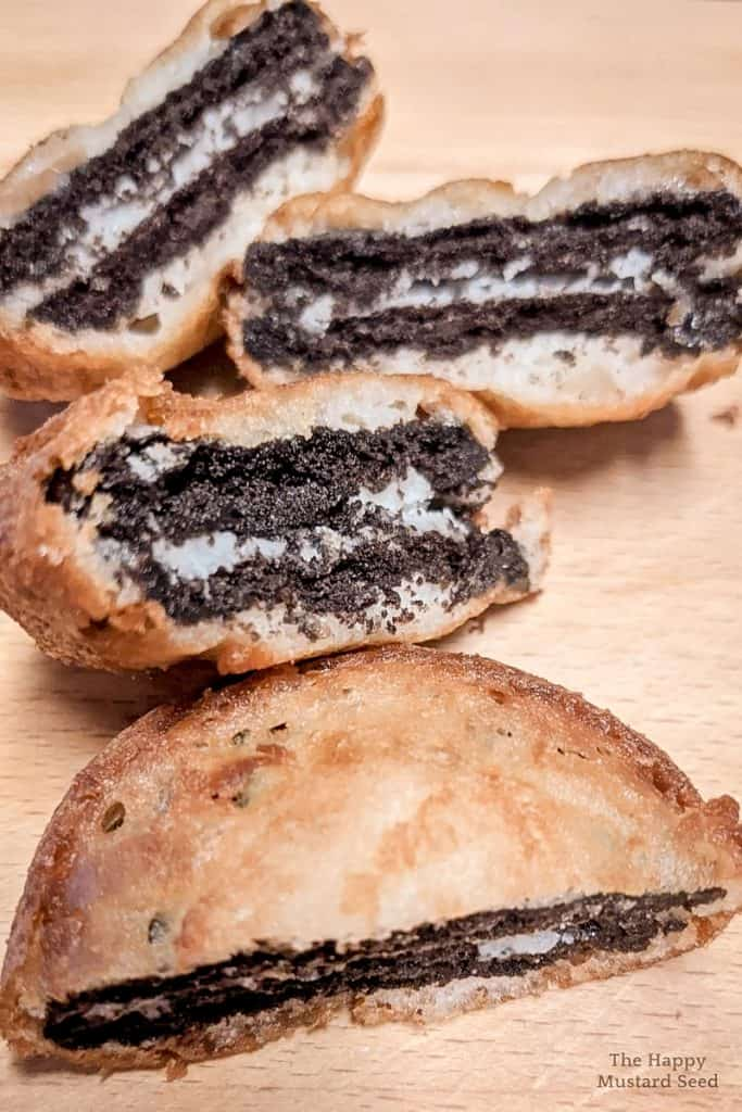 Deep Fried Oreos cut in half