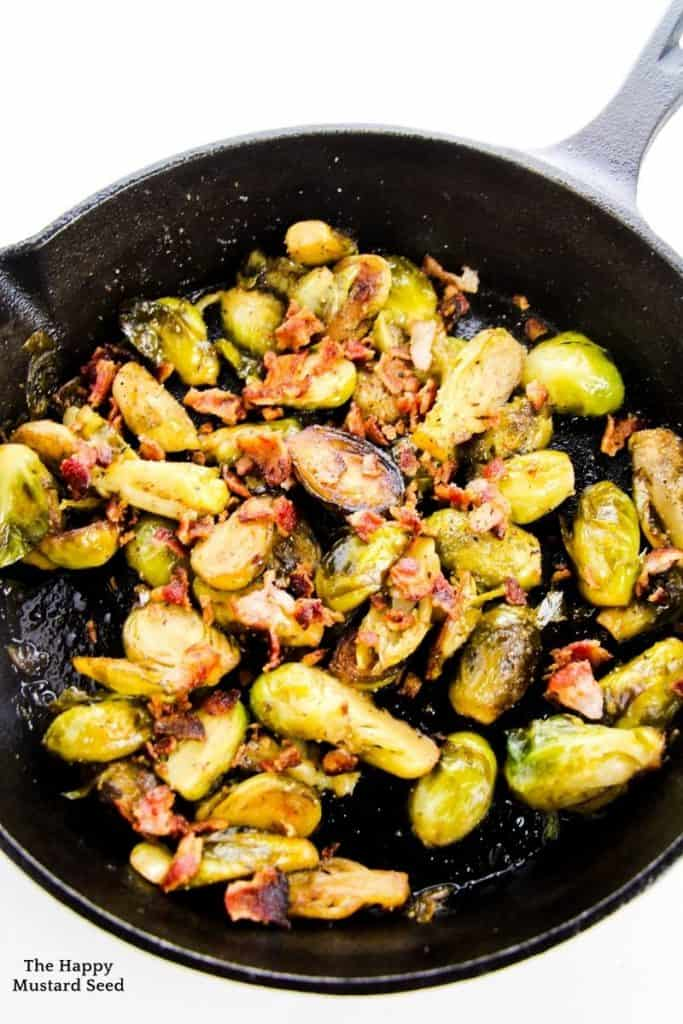 pan roasted maple bacon brussel sprouts