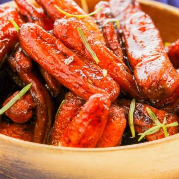 Close view of candied carrots recipe