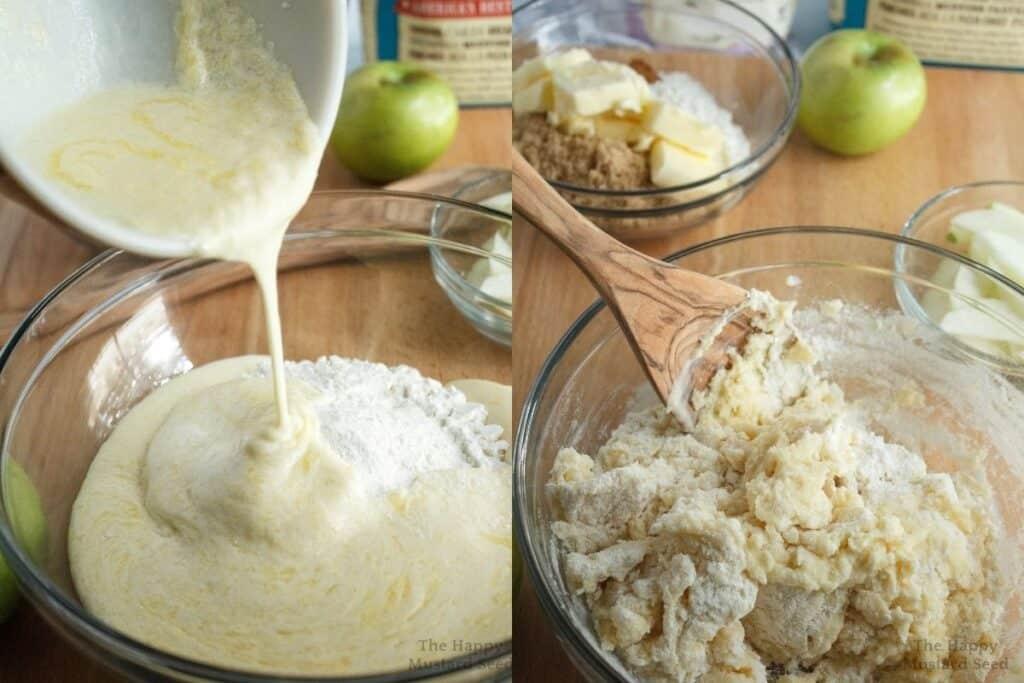 apple & cinnamon cake ingredients being mixed