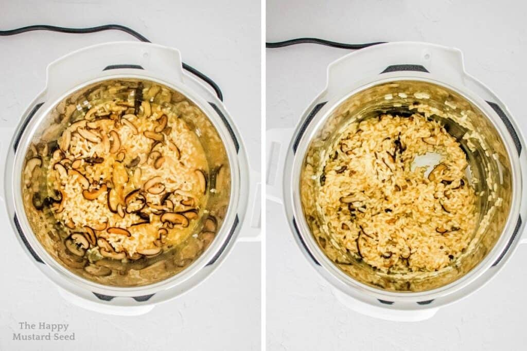 Top view of Instant Pot risotto cooking in pressure cooker