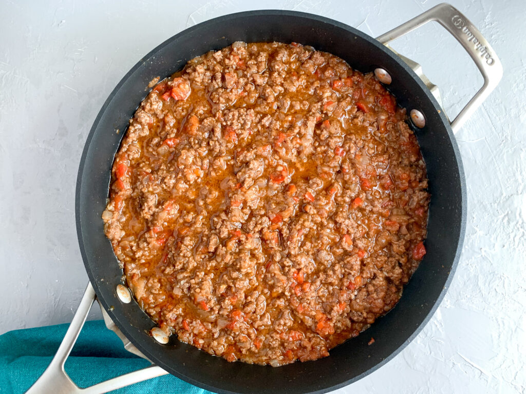 old-fashioned sloppy joes mixture in pan