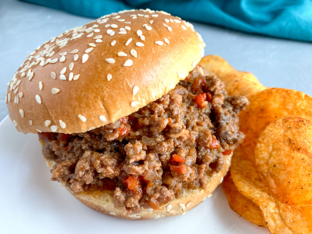 old-fashioned sloppy joe sandwich with chips