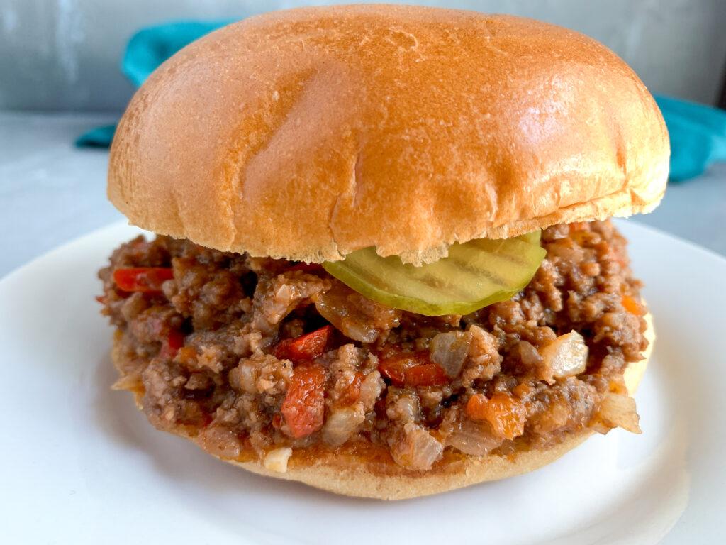 old-fashioned sloppy joe sandwich on plate