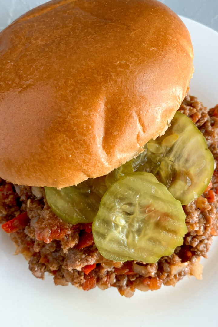 Pickles-with-old-fashioned-sloppy-joes-on-white-plate