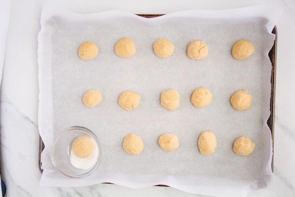 Sourdough Sugar Cookies on parchment paper.