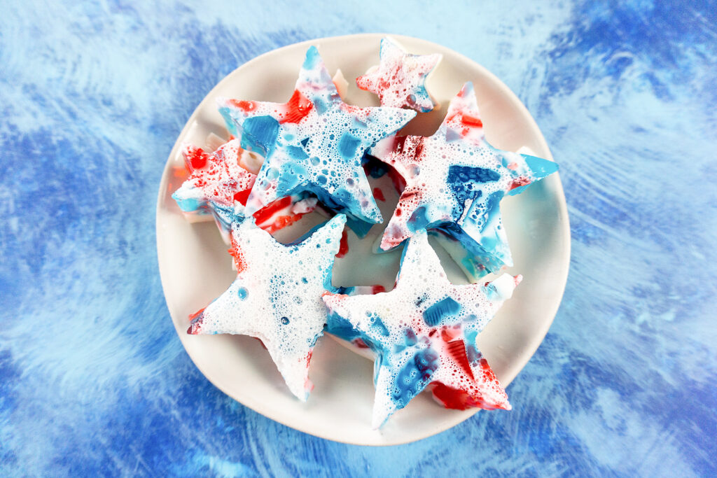 stained glass jello stars on white plate