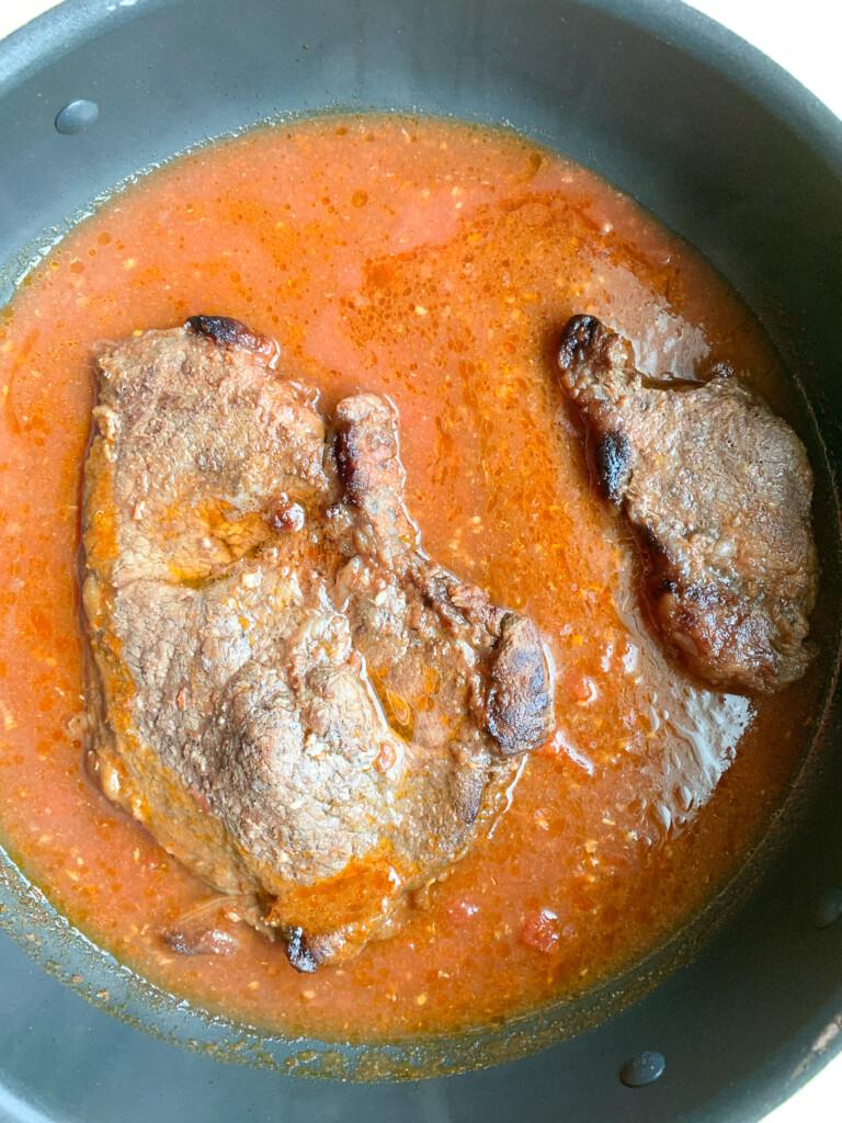 sirloin in marinade for sheet pan fries