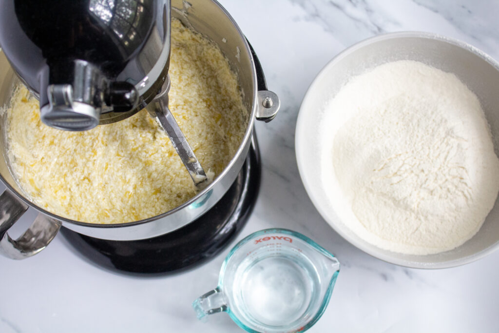 dough in a mixing bowl with flour at the side