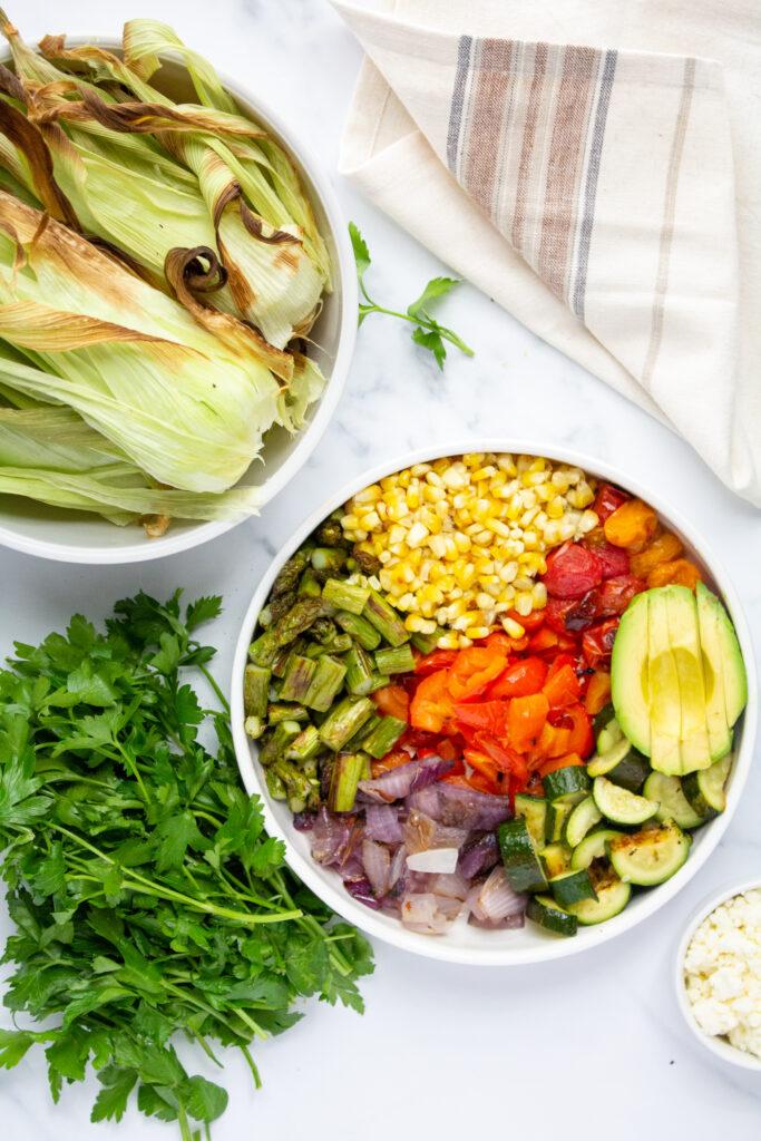 grilled vegetables salad in a bowl