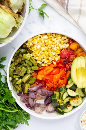 grilled vegetables salad vertical