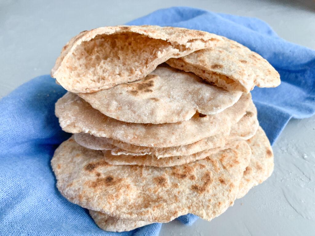 One stack of sourdough discard pita