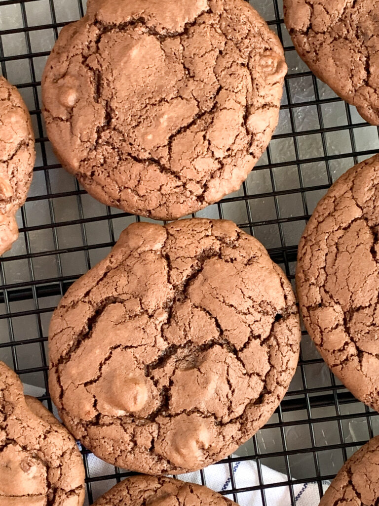 double chocolate sourdough cookies on wire rack