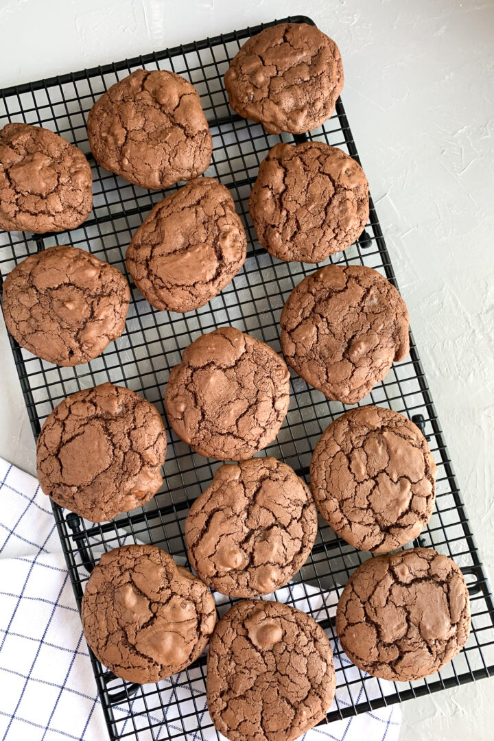 double chocolate sourdough cookies baked and cool on wire rack