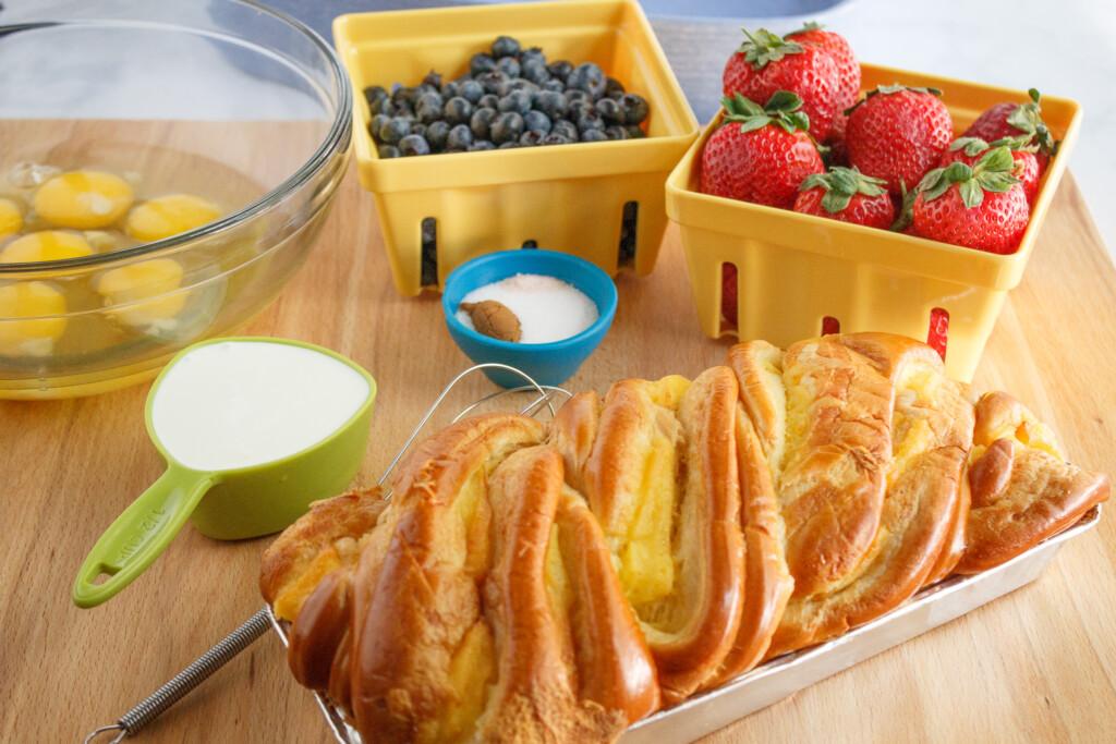 strawberries-eggs-milk-sugars-brioche-bread-blueberries-for-brioche-French-toast-casserole