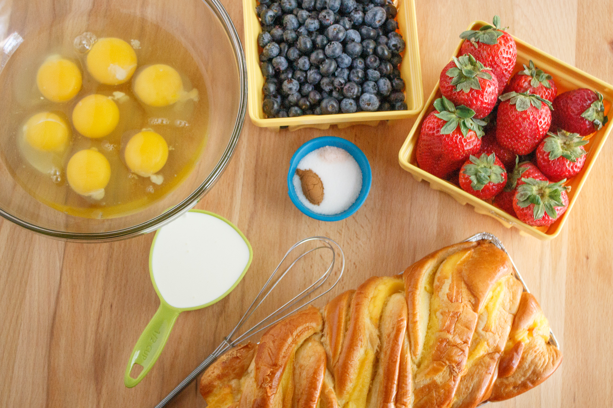 top view of ingredients for brioche French toast casserole