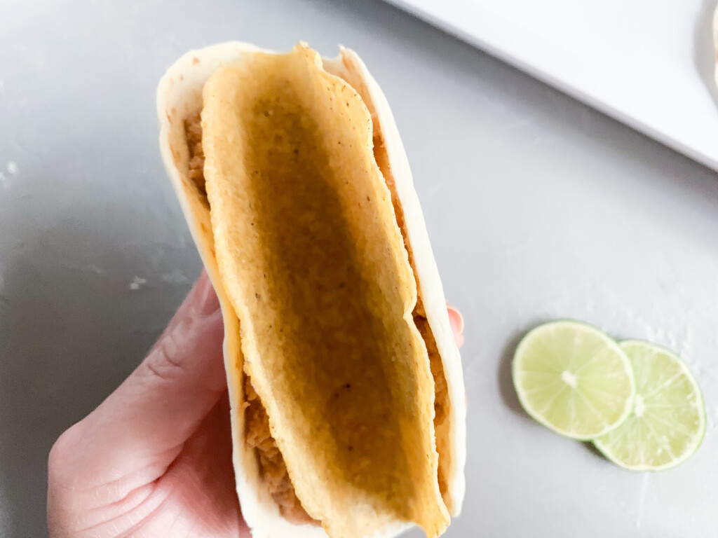 top view of double decker hard and soft tacos shells