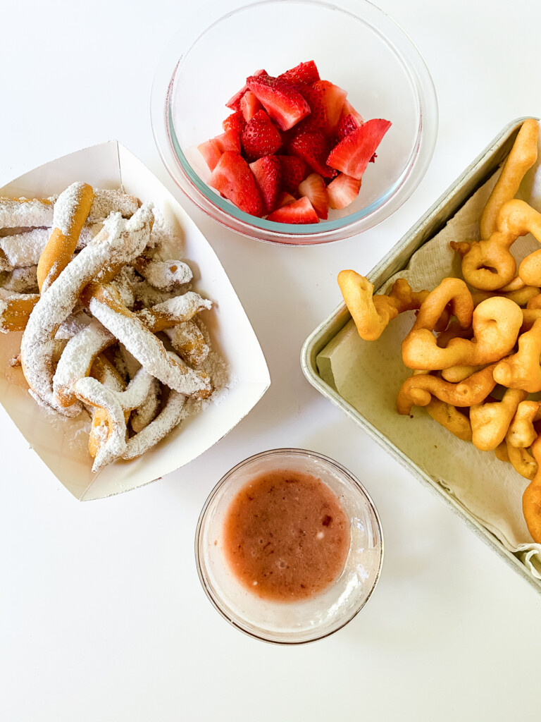 funnel cake fries with strawberries