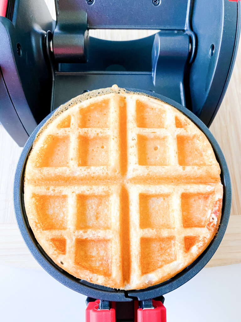 one waffle in griddle