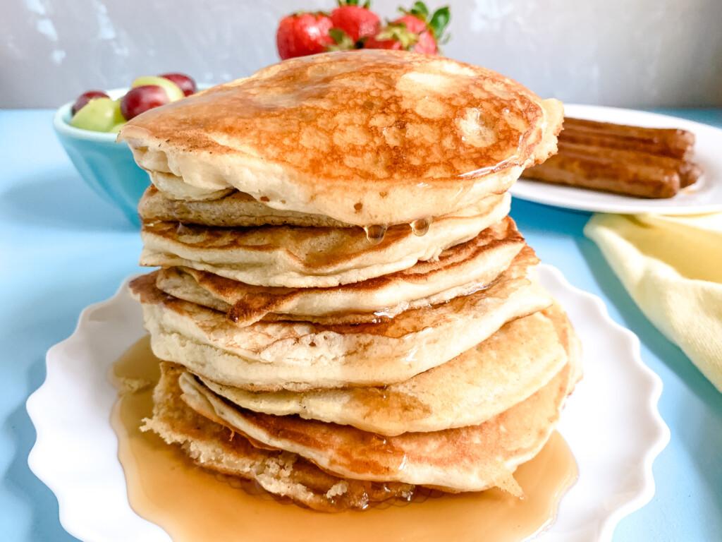 Sourdough-Pancakes-maple-syrup-strawberries