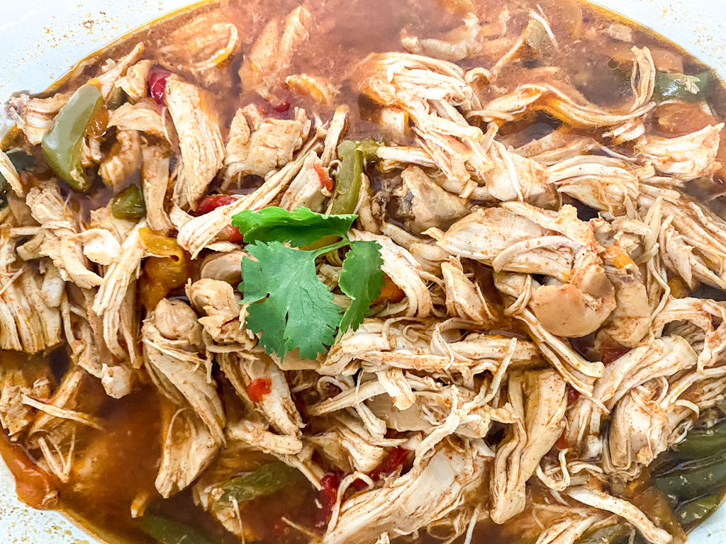 Crockpot chicken fajitas with cilantro and peppers