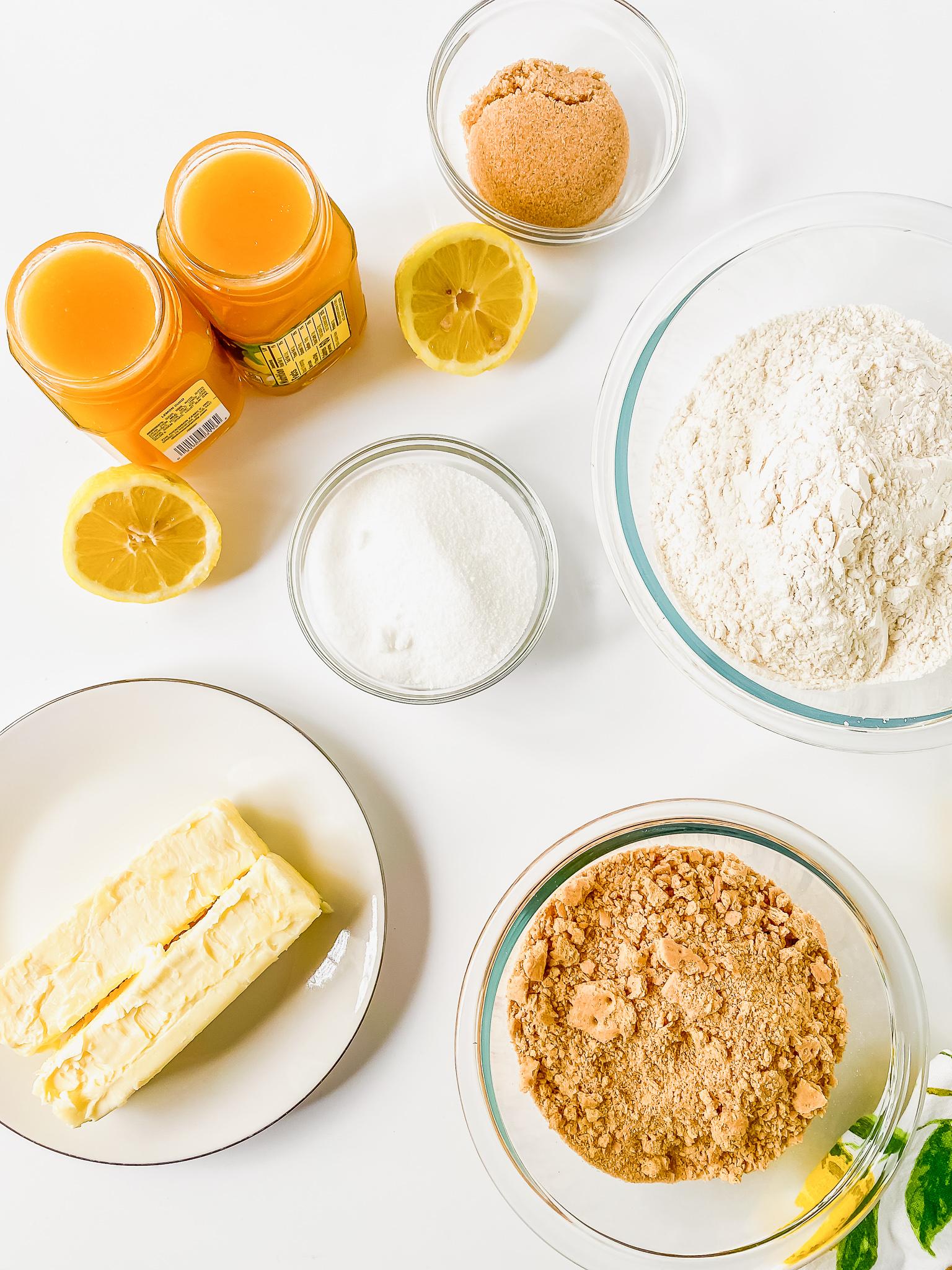 ingredients for lemon bars recipe