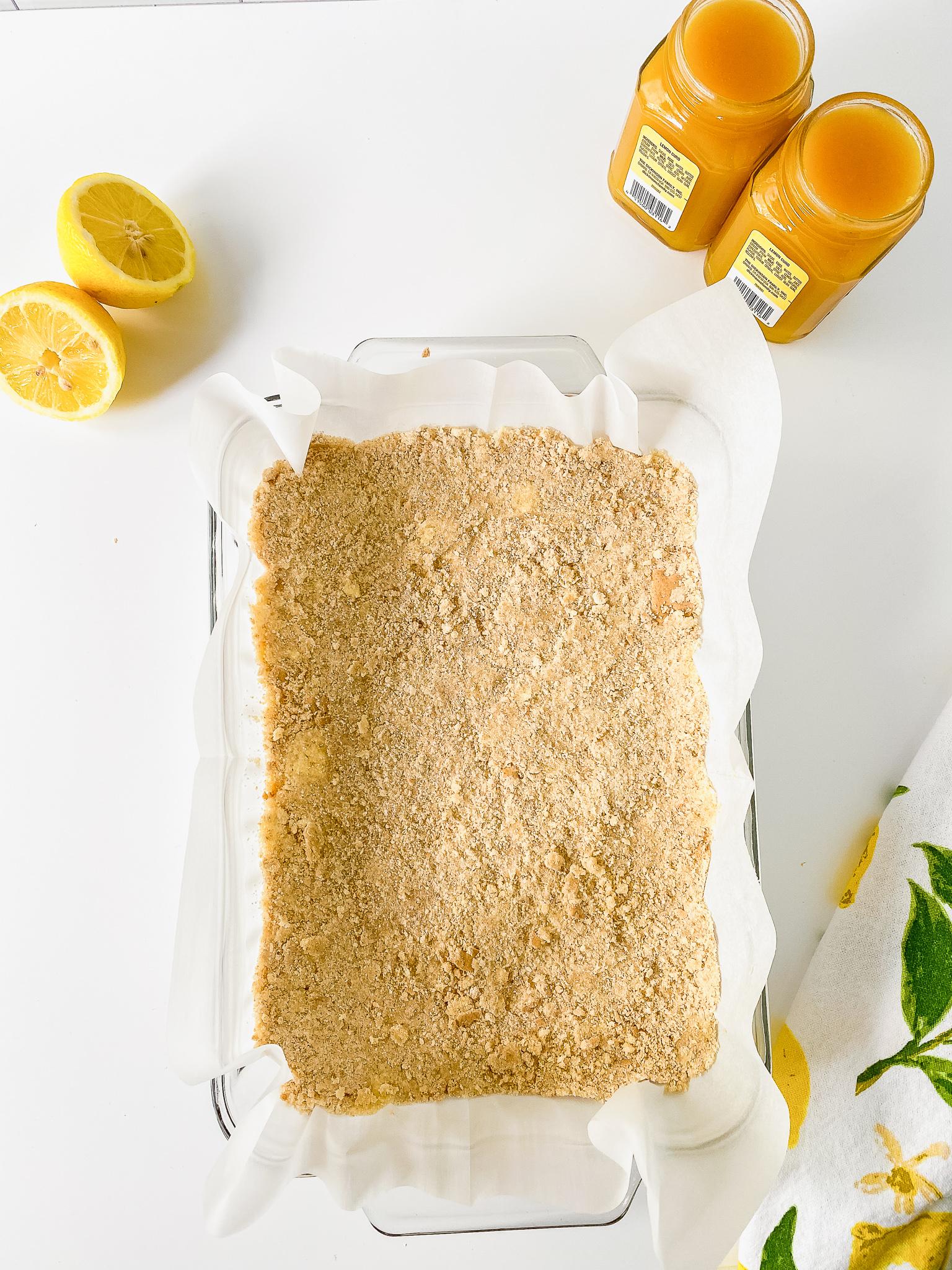 graham cracker crust in pan for lemon bars