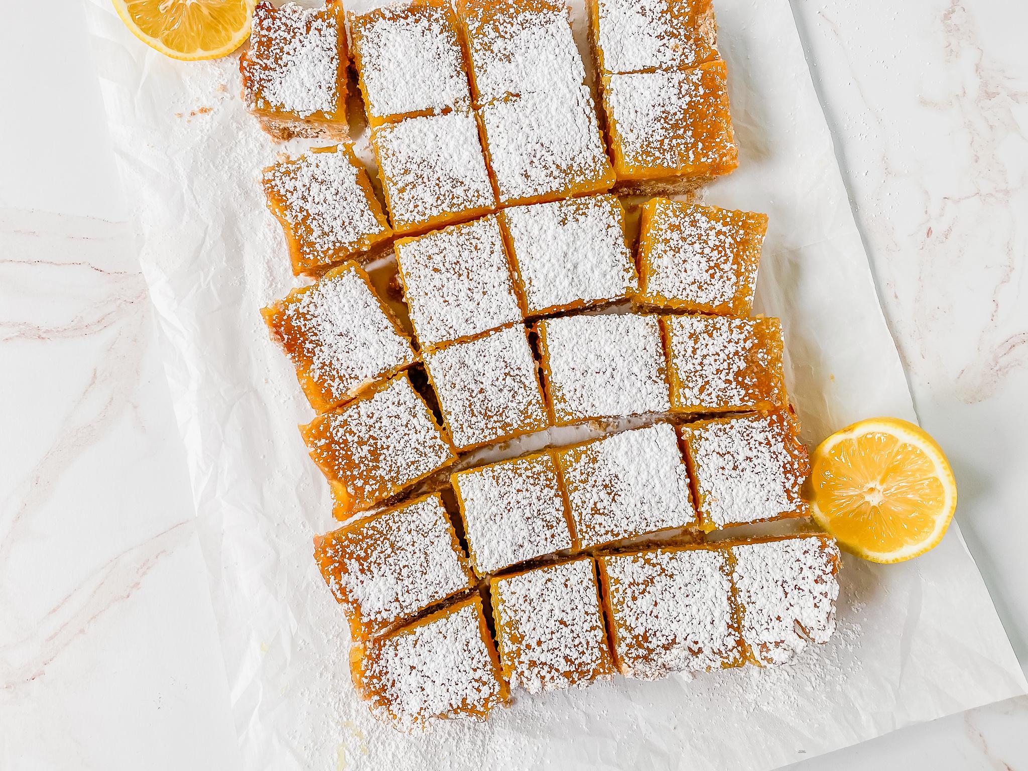 top view of lemon bars recipe