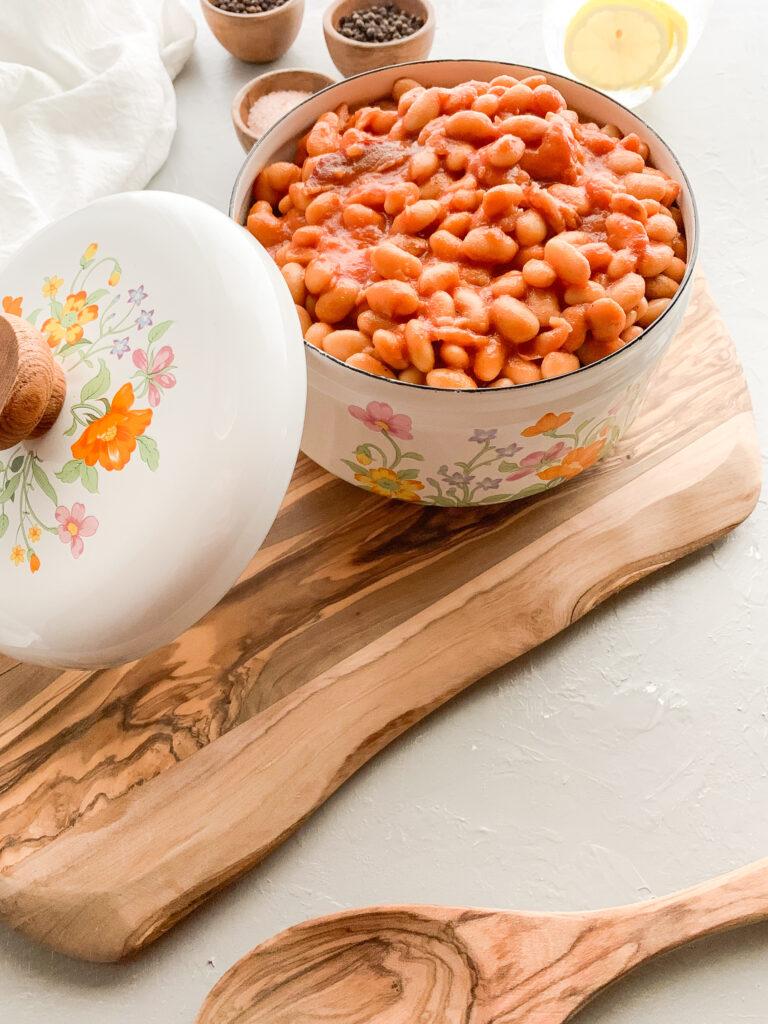 Pork-and-Beans-in-flower-enamel-pot