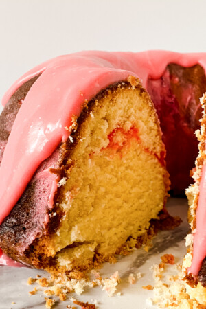 close view of strawberry pound cake on white plate