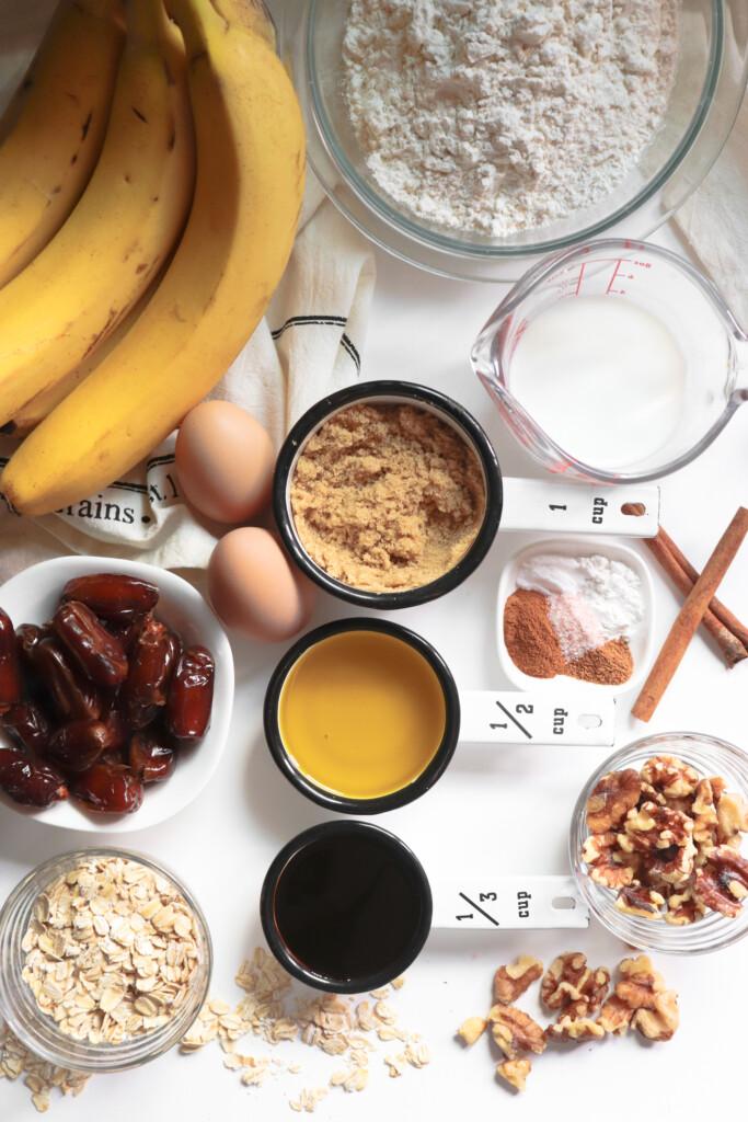 bananas, dates, nuts, vanilla, brown sugar, eggs, flour, sugar,