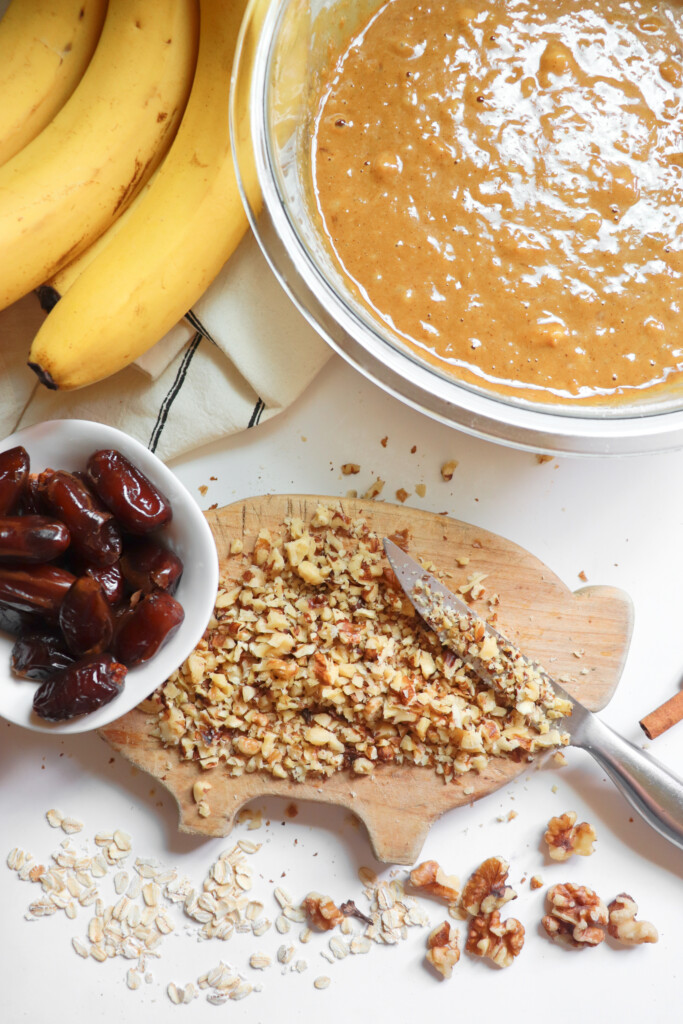 oats, dates, bananas, sourdough banana bread batter