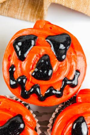 top view of Halloween jack-o-lantern cupcakes