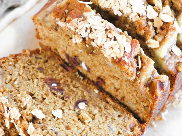 top view of sourdough banana bread with oats