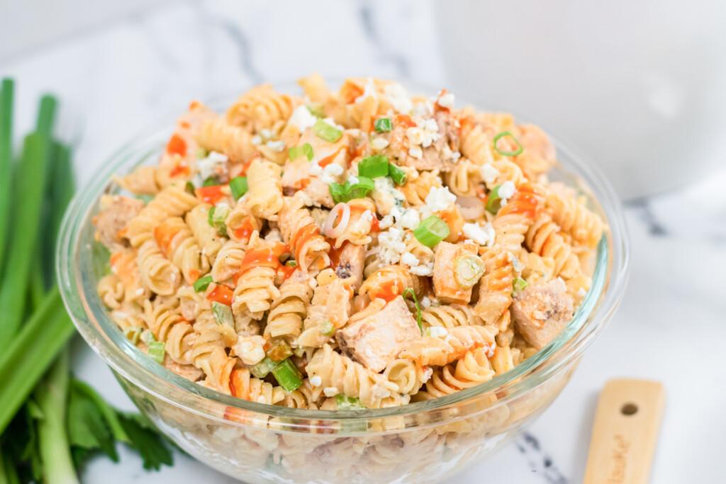 one big bowl of buffalo chicken pasta salad