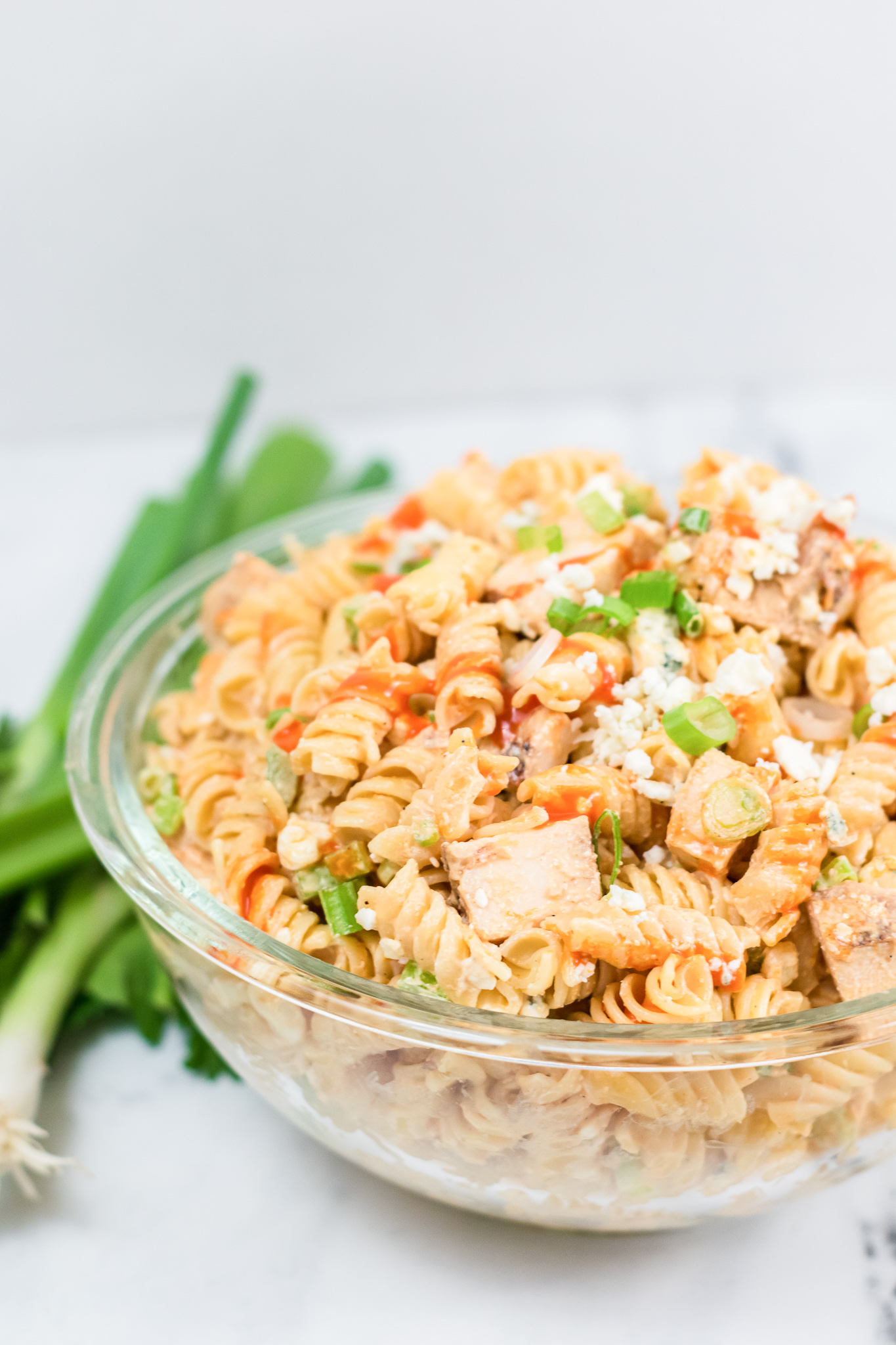 close view of chicken buffalo pasta in bowl