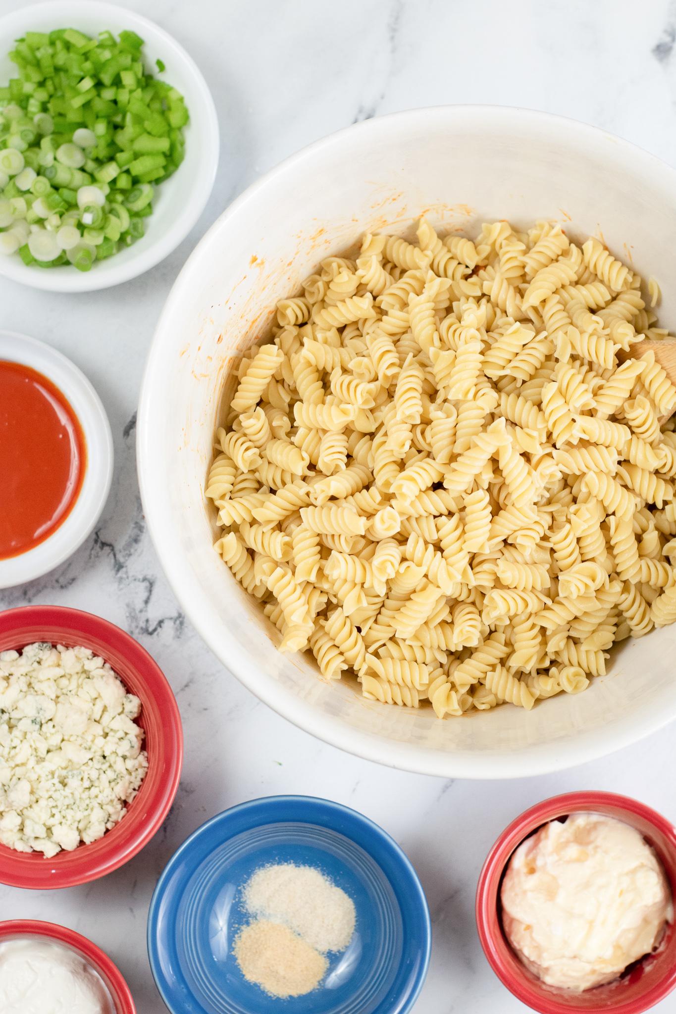 boiled pasta in white bowl